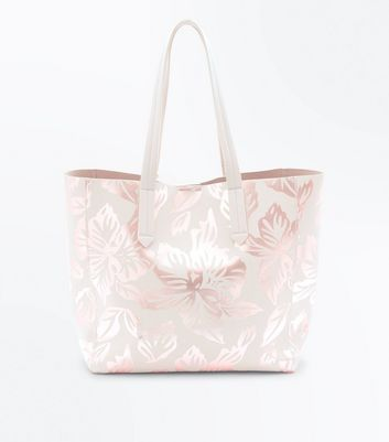 Nude Metallic Leaf Print Shopper Bag