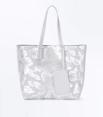Silver Metallic Leaf Print Shopper Bag