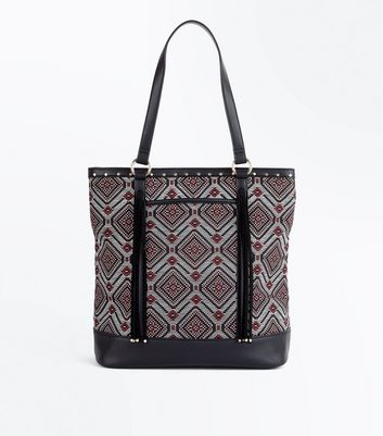 Black Woven Aztec Tassel Shopper Bag