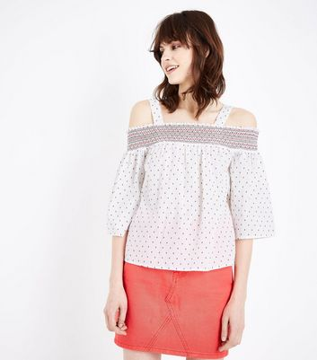 White Spot Cross Stitch Bardot Smock Top