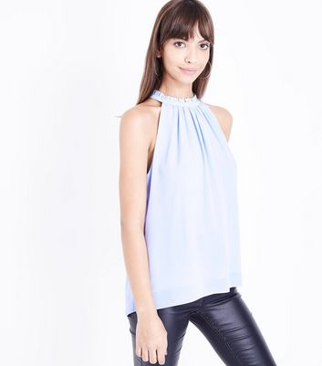 Pale Blue Gathered High Neck Top
