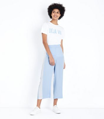 Pale Blue Side Stripe Cropped Tapered Trousers