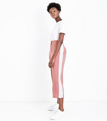 Pink Side Stripe Cropped Wide Leg Trousers