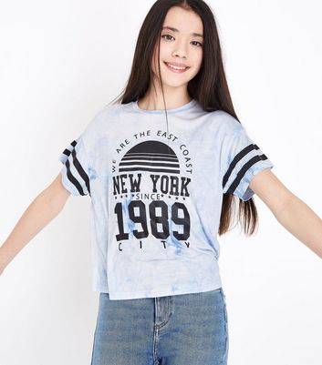 Teens Pale Blue We Are The East Coast Tie Dye T-Shirt