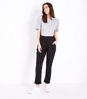 Maternity Black Stripe Over Bump Trousers