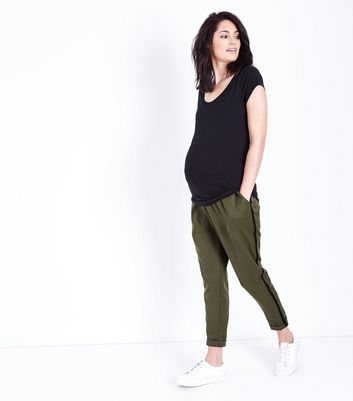 Maternity Khaki Side Stripe Over Bump Trousers