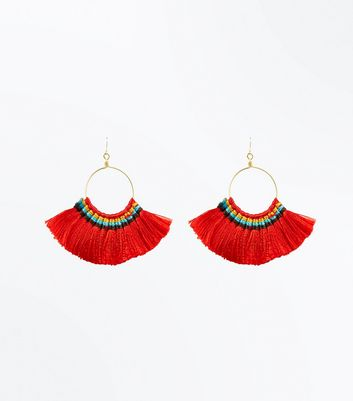 Red Fan Hoop Earrings