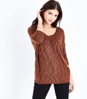 Rust Fine Knit Scoop Neck Top