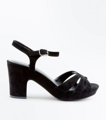 Wide Fit Black Suedette Platform Heels