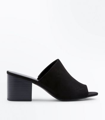 Black Suedette Wood Block Heel Mules