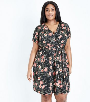 Curves Black Floral Belted Wrap Front Dress