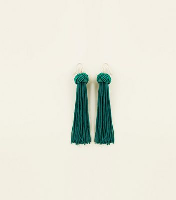 Green Knot Tassel Drop Earring