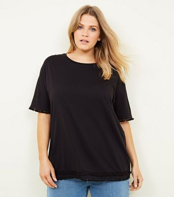Curves Black Tassel Trim Boxy T-Shirt