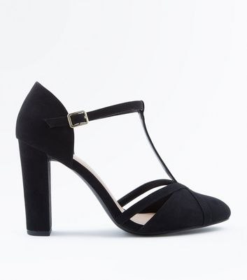 Wide Fit Black Suedette T-Bar Courts