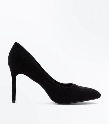 Wide Fit Black Suedette Almond Toe Courts