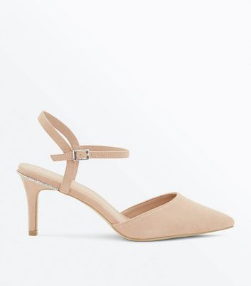 Wide Fit Nude Diamante Trim Pointed Heels