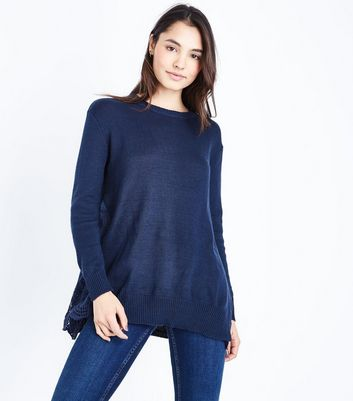 Apricot Navy Side Lace Insert Jumper