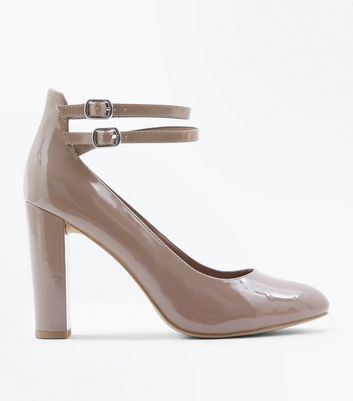 Wide Fit Brown Patent Double Strap Courts