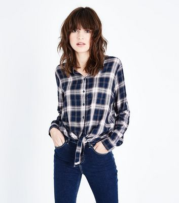 JDY Blue Check Tie Front Shirt