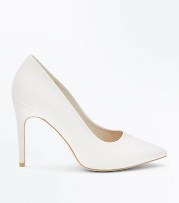 Wide Fit White Pointed Court Shoes