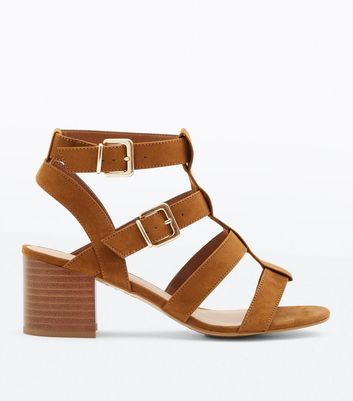 Wide Fit Tan Suedette Gladiator Heeled Sandals