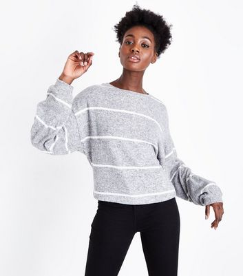 Grey Stripe Fine Knit Balloon Sleeve Jumper
