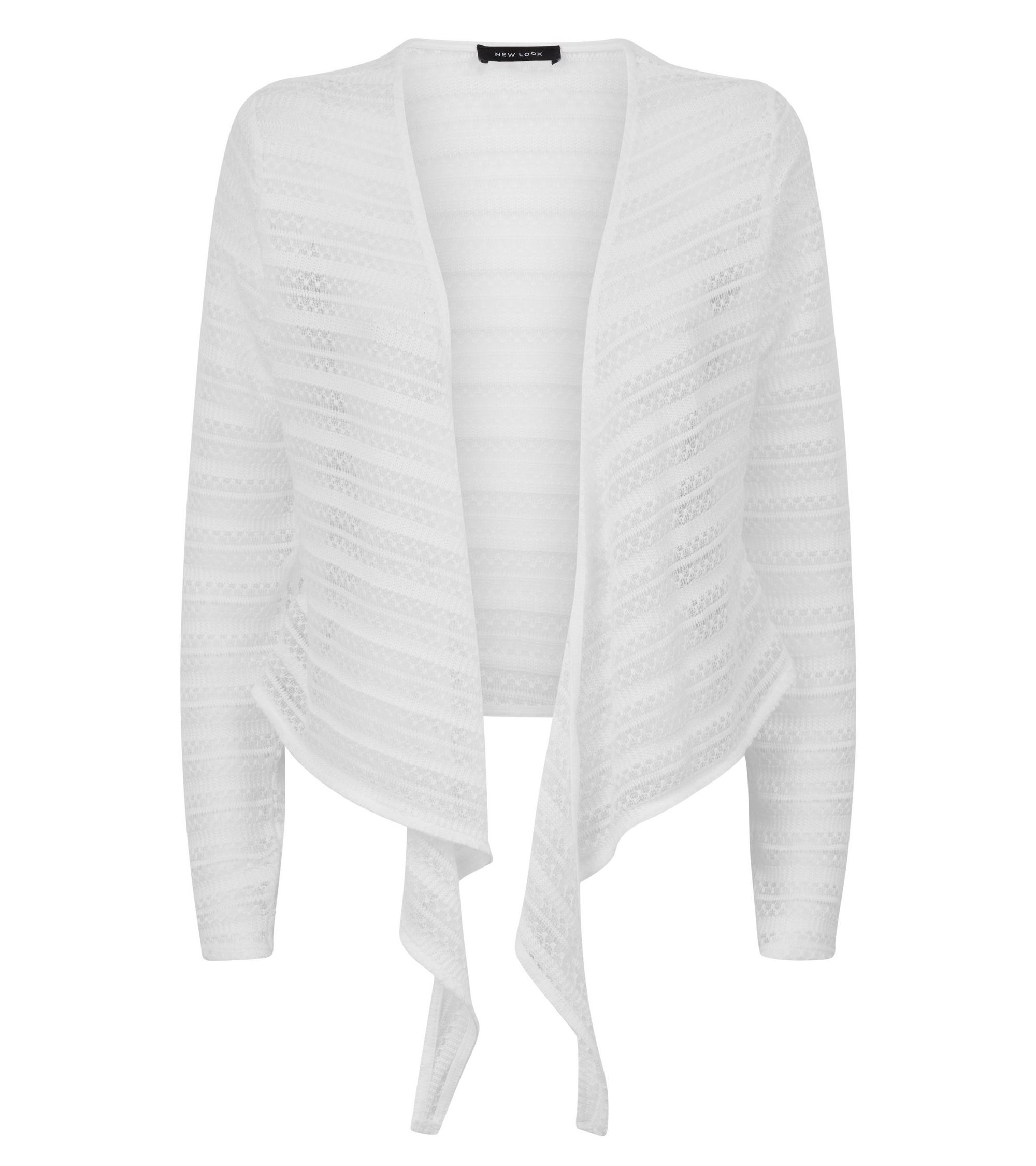 8d64ba1609b75 New Look Off White Pointelle Stripe Tie Front Crop Top at £6