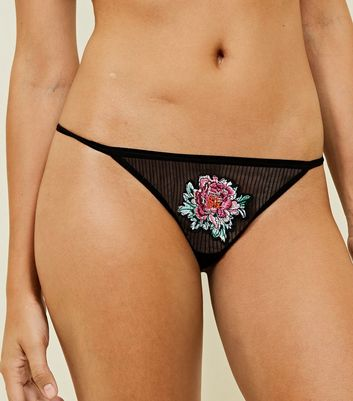 Black Mesh Floral Embroidered Thong