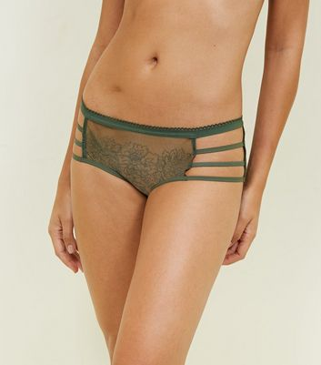Khaki Floral Mesh Embroidered Strappy Briefs