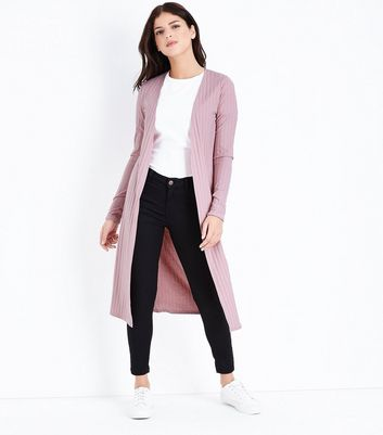 Pink Ribbed Midi Cardigan