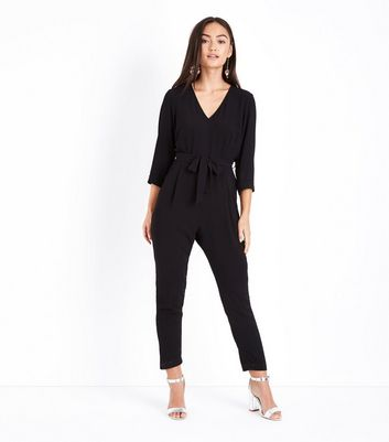 Petite Black Belted Tapered Jumpsuit