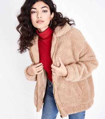 Cameo Rose Light Brown Faux Fur Teddy Jacket