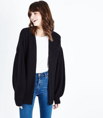 Tall  Black Balloon Sleeve Cardigan