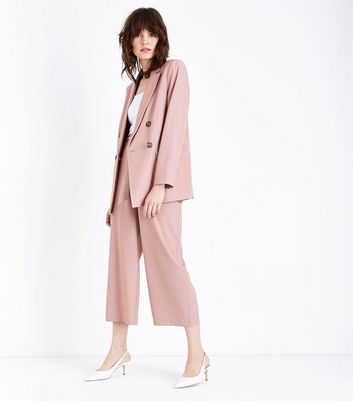 Mid Pink Marl Tie Waist Cropped Trousers