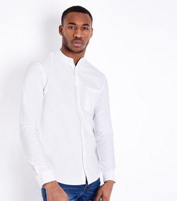 White Grandad Collar Oxford Shirt