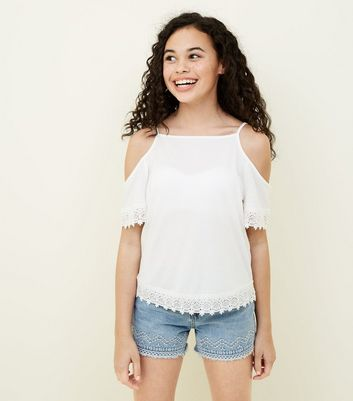 Teens White Crochet Trim Top