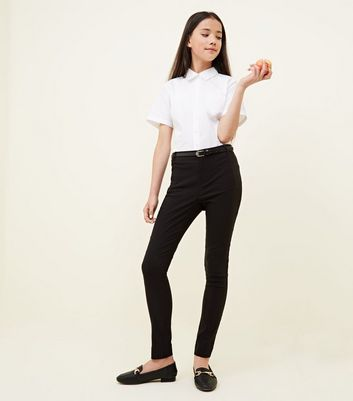 Girls Black Belted Slim Leg Trousers