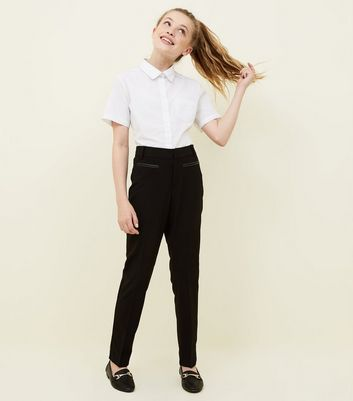 Girls Black Leather-Look Trim School Trousers