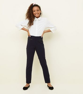 Girls Navy Leather Look Pocket Trim Trousers by New Look