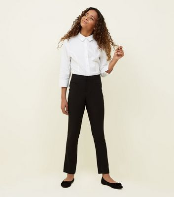 Girls Black Tapered Stretch Trousers