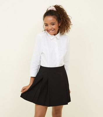 Girls Black Pleated School Skirt