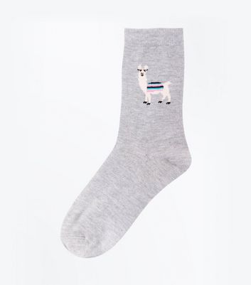 Pale Grey Llama Pattern Socks