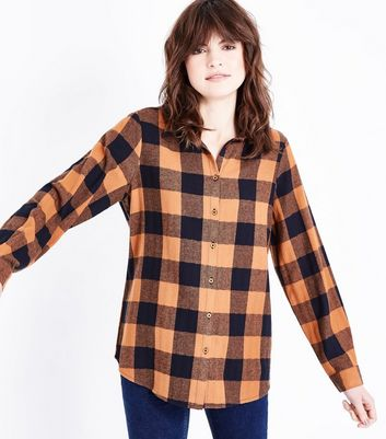 Brown Check Pattern Longline Shirt