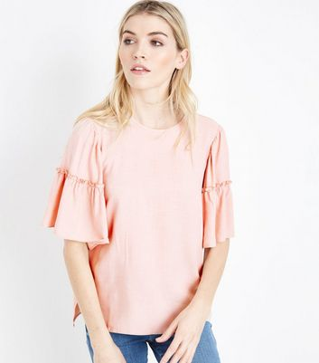 Pale Pink Frill Edge Bell Sleeve Top