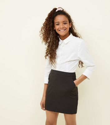 Girls Grey Elasticated Waist Skirt