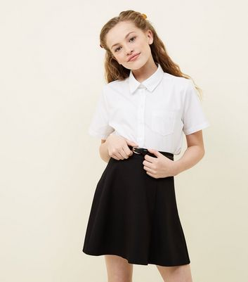 Girls Black Belted Skater Skirt