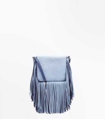 Pale Blue Tassel Fringe Cross Body Bag