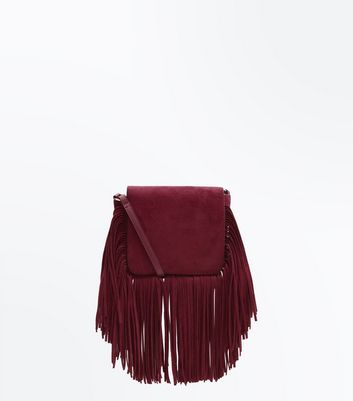 Burgundy Tassel Fringe Cross Body Bag