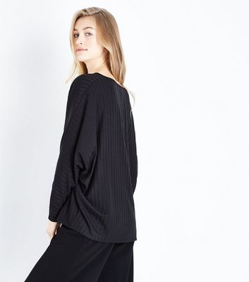 New Look - Black Ribbed Fine Knit V Neck Top - 3