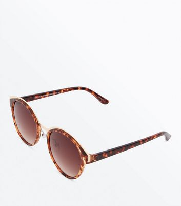 Dark Brown Tortoiseshell Round Sunglasses